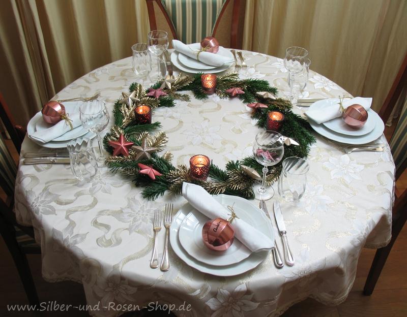 silber 2 x tischdeko f r weihnachten 2 x christmas tablescapes. Black Bedroom Furniture Sets. Home Design Ideas