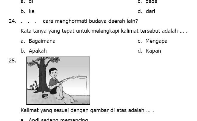 Contoh Soal UKK Bahasa Indonesia Kelas 3 SD Semester 2
