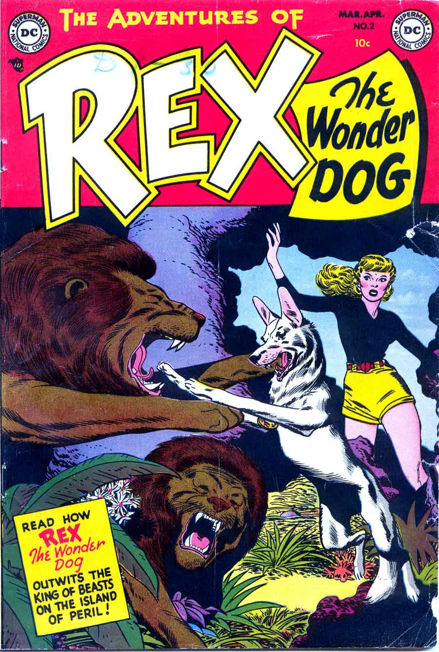 Adventures of Rex the Wonder Dog v1 #2 dc 1950s golden age comic book cover art by Alex Toth