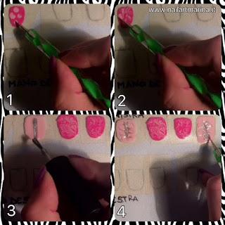 Tutorial adesivi per unghie rosa decorate con argento