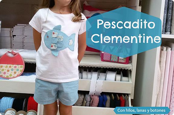 """Con hilos, lanas y botones: camiseta con aplicación """"Pescadito Clementine"""""""
