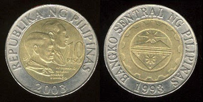 Philippines 10 Piso (2000+) Mobini and Bonifacio