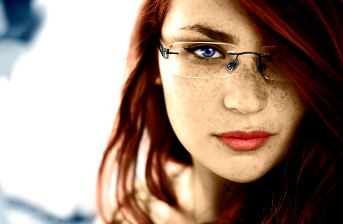 redhead Blue Eyes Glasses Women Freckles Face Wallpapers HD