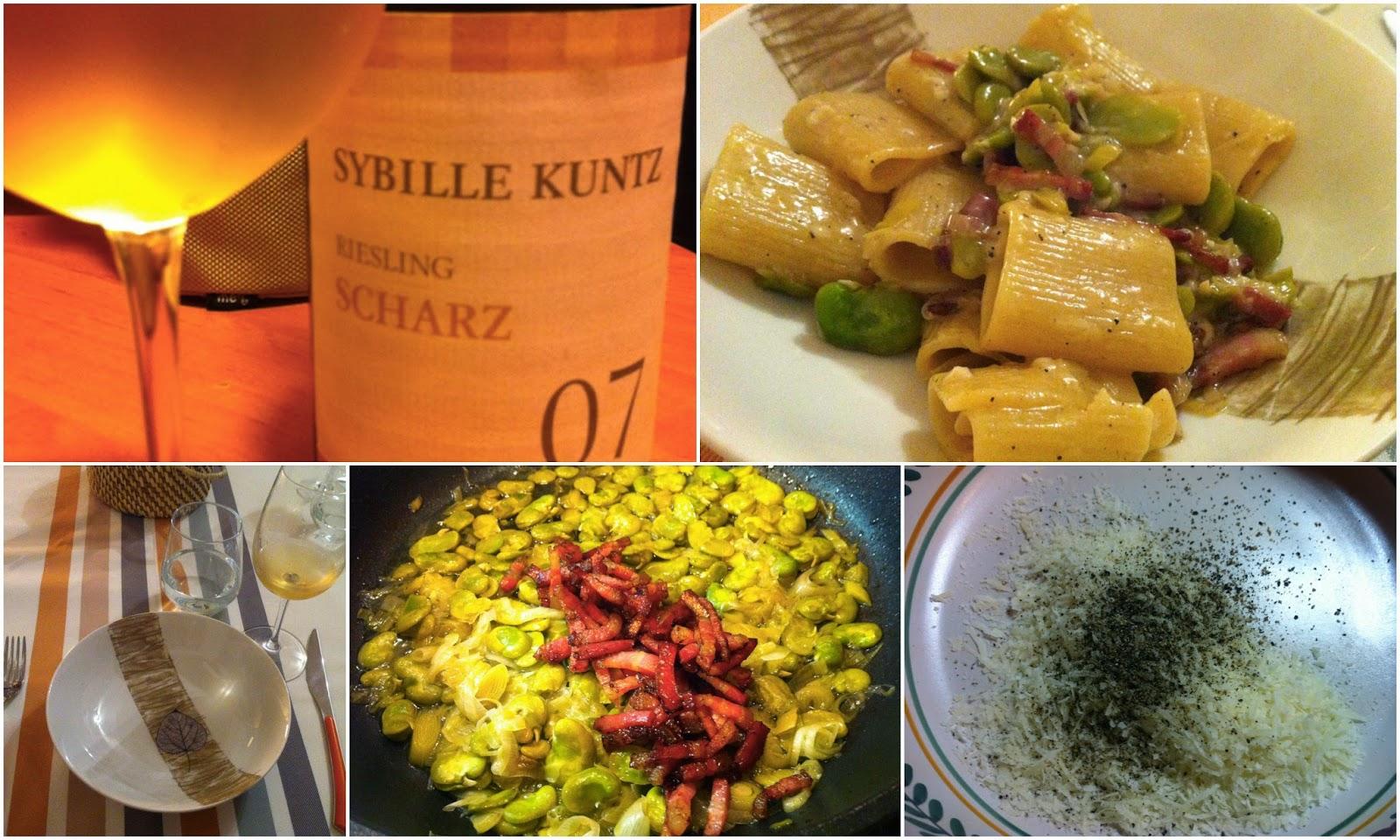рецепт паста грича с беконом, бобами и немецкое вино ризлинг