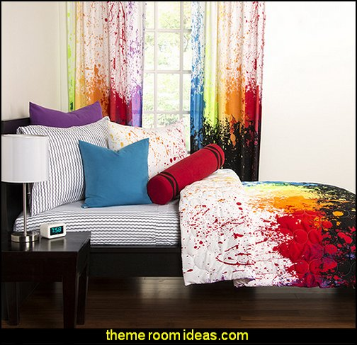 paint splatter bedroom decor