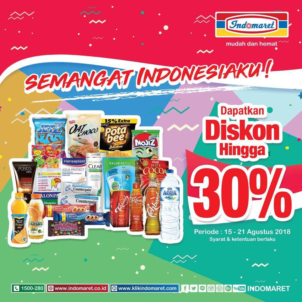 Indomaret - Promo Diskon s.d 30 % di Semangat Indonesiaku (s.d 21 Agustus 2018)