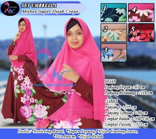 Gamis umbrella motif bahan missbee set hijab syar'i bubble crepe
