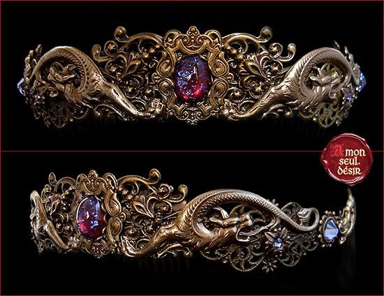 couronne khaleesi tiare dragon bronze diadème daenerys targaryen circlet medieval fantasy crown jewellery