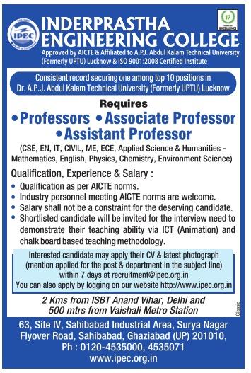 inderprastha engineering college ghaziabad wanted