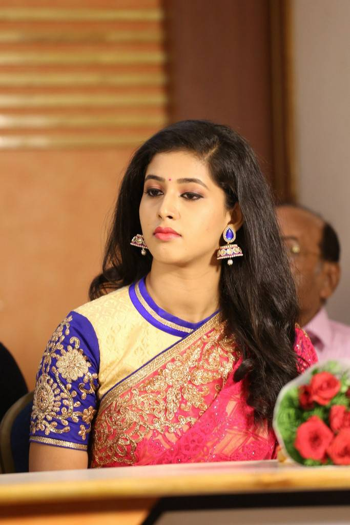 Beautiful Telugu Girl Pavani Long Black Hair Stills In Red Saree