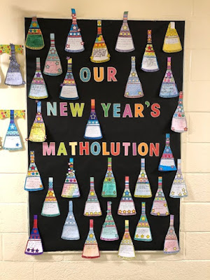 """Our New Year's Matholution"" in Ms. Quintanilla's math classroom"