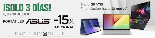 Top 10 ofertas ¡Solo 3 días, -15% adicional portátiles Asus! de El Corte Inglés