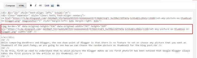 Editing HTML of blog post.
