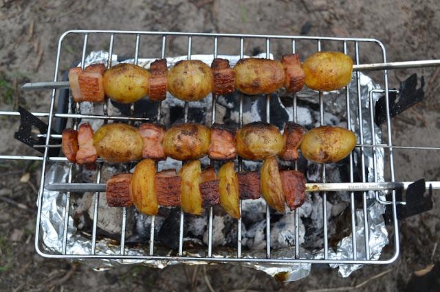 aardappelspiezen met spek