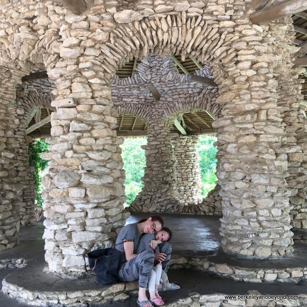 photo op with stonework at Japanese Tea Garden in San Antonio, Texas