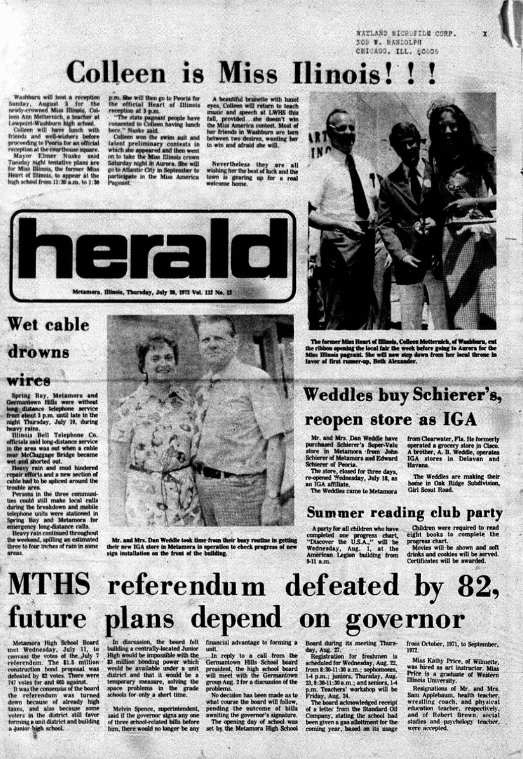 Herald from July 26, 1973; Metamora Herald