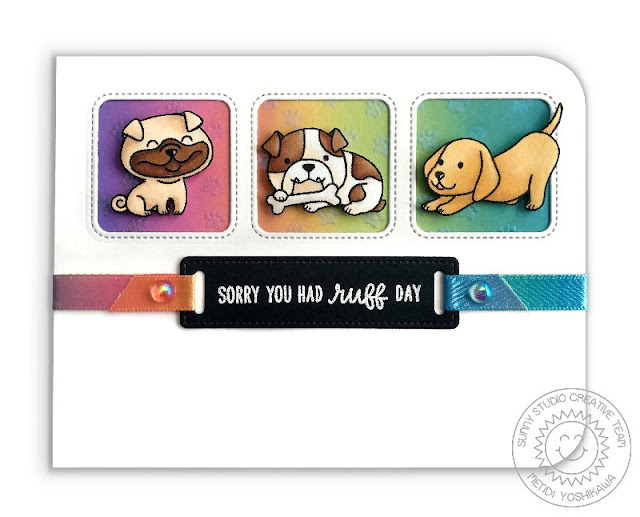 "Sunny Studio Stamps: Devote Doggies ""Heard You Had A Ruff Day"" Rainbow Puppy Dog Card by Mendi Yoshikawa"