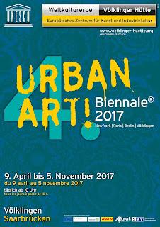 """Plakat der """"UrbanArt Biennale® 2017"""" im Weltkulturerbe Völklinger Hütte Copyright: Weltkulturerbe Völklinger Hütte/Glas AG"""