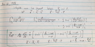 The November 10, 1988 entry in my research notebook, where I derive the equation for the electric field induced during magnetic stimulation.