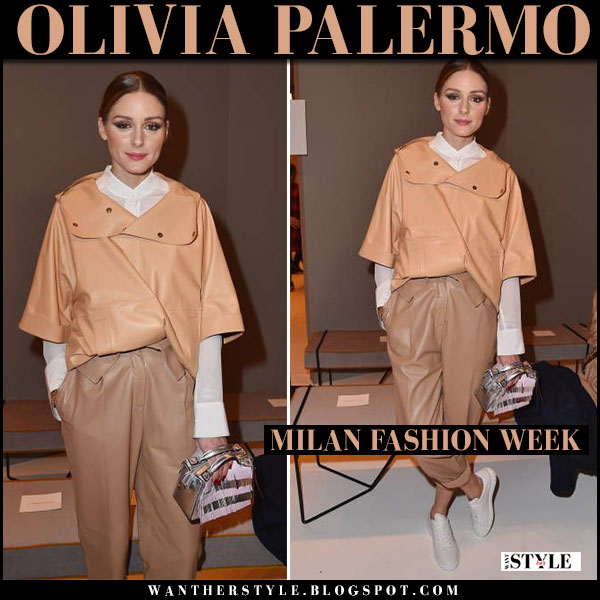Olivia Palermo in beige leather windbraker, beige leather pants with silver bag tod's gommino milan fashion week february 23