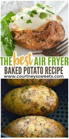 Air Fryer Baked Potato Recipe - Baked Garlic Parsley Potatoes