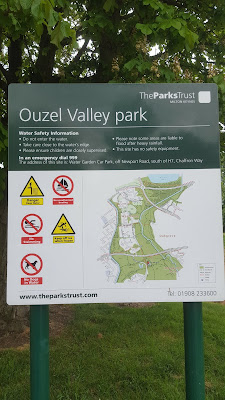 The map of the walk at the walking routes at Ouzel Valley Park, Milton Keynes