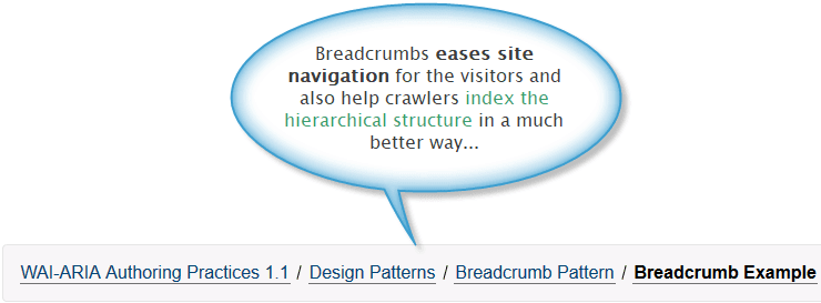 Example of breadcrumbs on a website