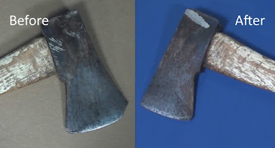 Before and after of reshaped hatchet head