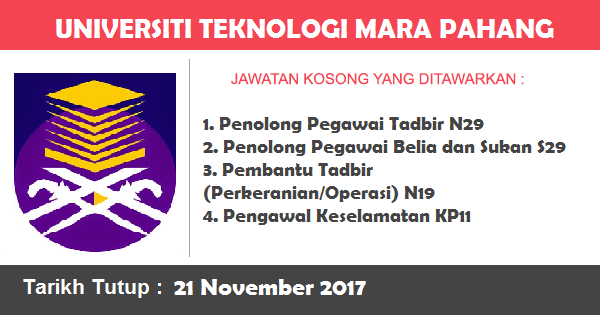 Jawatan Kosong di Universiti Teknologi Mara (UiTM) Pahang