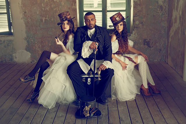 Men's steampunk suit for a wedding. Women's steampunk clothing for brides or bridesmaids. Steampunk fashion inspiration for weddings or cosplay.