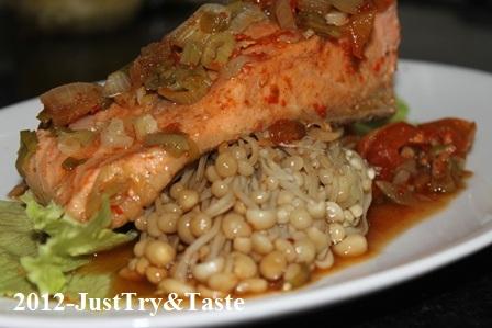 Resep Tim Ikan Salmon & Jamur Enoki