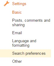 settings search preferences blogspot