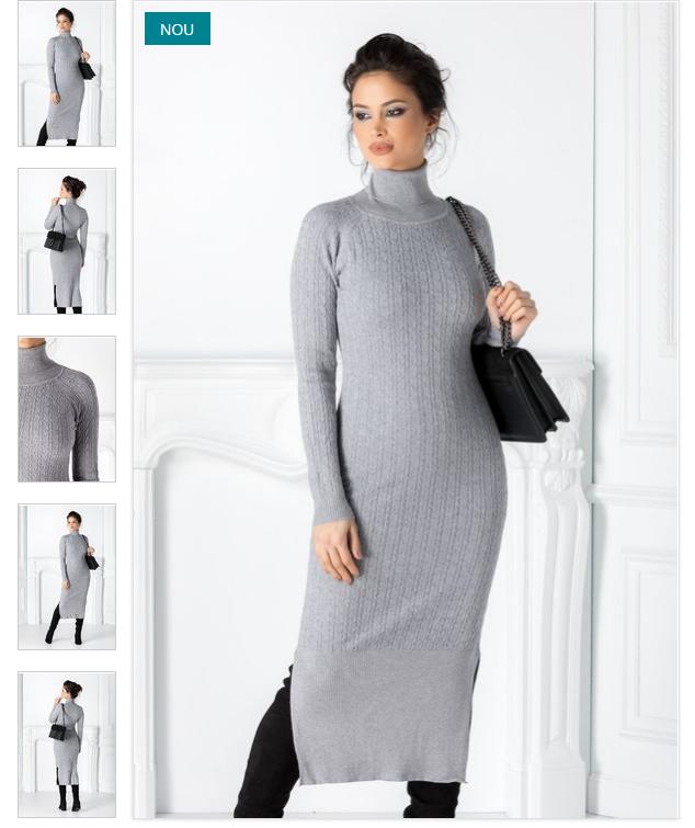 Rochie gri de iarna tricotata cu maneci lungi si guler inalt