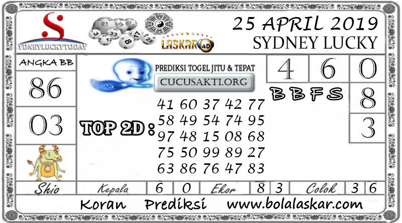 Prediksi Togel SYDNEY LUCKY TODAY LASKAR4D 25 APRIL 2019
