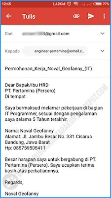 contoh body email lamaran kerja lewat hp