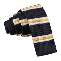 MENS KNITTED NAVY BLUE WITH YELLOW AND WHITE THIN STRIPES TIE