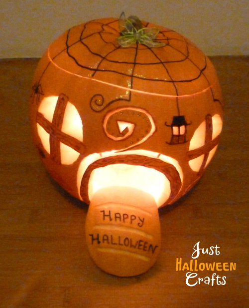 Lit pumpkin in fairy elf gnome hobbit home design decoration