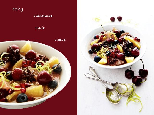 Christmas Fruit Salad.Spiced Christmas Fruit Salad