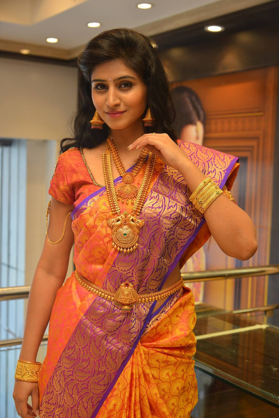 Actress Shamili In Traditional Yellow Saree At Jewelry Launch