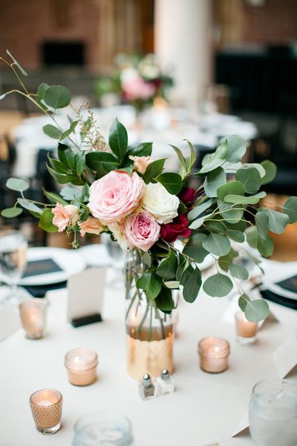 rose and eucalyptus centerpiece