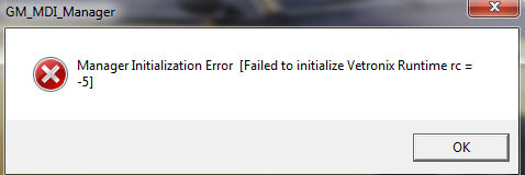 GM MDI Manager Initialization Error