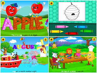 KidloLand screenshots including the letter A, August, Pineapple and some colouring in (of a beehive)