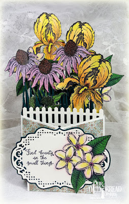 Our Daily Bread Designs Stamp Sets: A True Friend, Sweet as Perfume, Our Daily Bread Designs Custom Dies: Vintage Border, Vintage Labels, Fence Border, Grass, Our Daily Bead Designs Paper Collection:Cozy Quilt, Fun & Fancy Folds (Cascade)