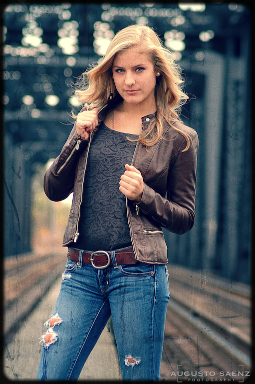 Senior Pictures on Bridge by rail tracks Columbus, OH