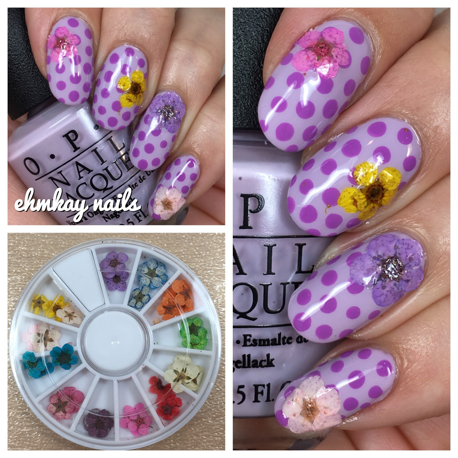 ehmkay nails: Beauty Big Bang Dried Flowers with Purple Polka Dot ...