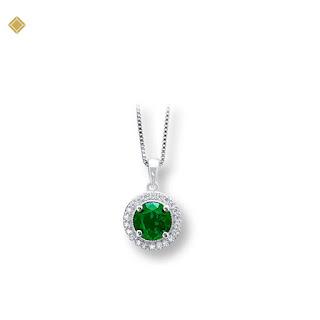 Mặt dây chuyền đá ngọc bảo lục hình tròn đính kim cương viền