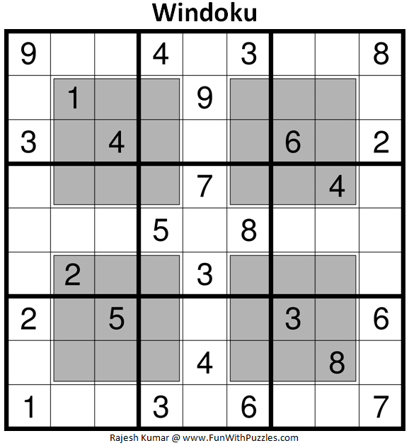 Windoku (Fun With Sudoku #366)