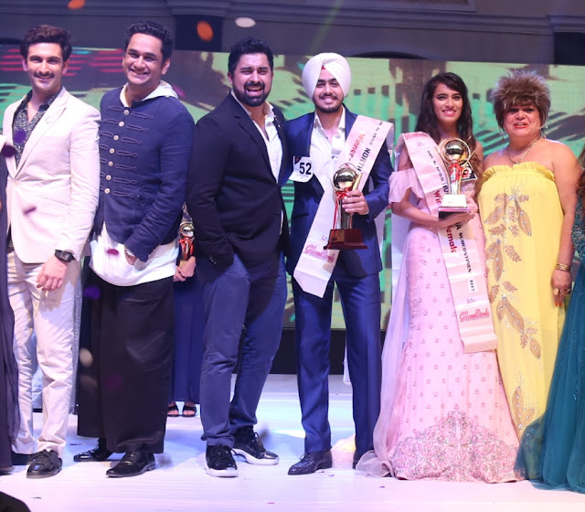 Nandish Sandhu, Vikas Gupta, Ranvijay Singh with winners of Mr & Miss North India Subcontinent Rohandeep Singh, Arshia Khan and Sylvie Rodgers