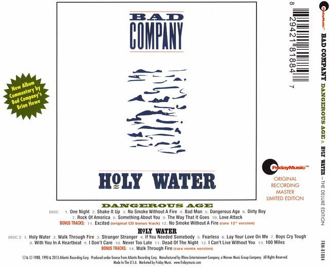 BAD COMPANY - Dangerous Age / Holy Water [The Deluxe Edition / Remastered + Bonus] (2015) back