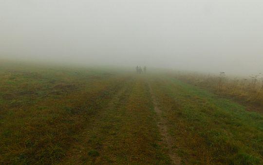 """""""Beskidzkie połoniny"""" we mgle."""